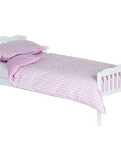 junior bed white + pink gingham